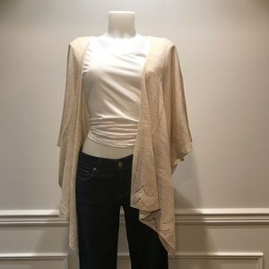 Cejon ivory/gold oversized cape wrap knit sweater